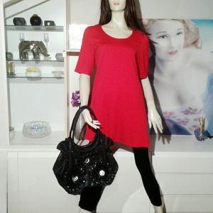 Vintage Black Leather Bag with Roses & Rhinestones